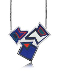 Avril Ziggy Palladium Plated Brass And Viscose Pendant Necklace Multicolor