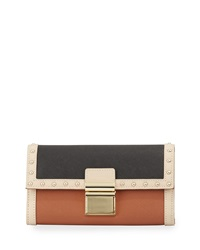 Badgley Mischka Irene Colorblock Wallet Latte Black Cognac