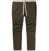 Beams Plus Slim Fit Tapered Cotton Blend Twill Drawstring Trousers Green