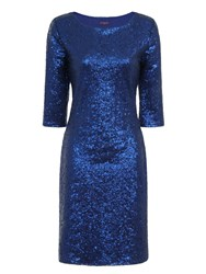 Hotsquash Long Sleeved Dress With Sequin Trim Bright Blue