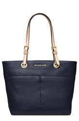 Michael Michael Kors 'Bedford' Top Zip Leather Pocket Tote Blue Navy