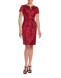 Nue By Shani Short Sleeve Printed Sheath Dress Red