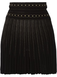 Roberto Cavalli Pleated Knitted Short Skirt Black