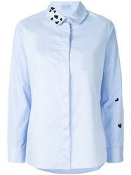 Macgraw Heart Embroidered Shirt Blue