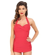 Unique Vintage Halter Sheath Corine One Piece Red Pin Dot Women's Swimsuits One Piece