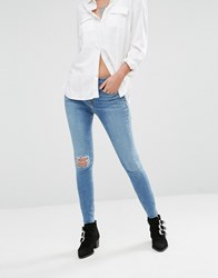New Look Super Skinny Busted Kneed Jeans Mid Blue