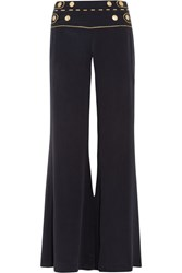 Balmain Pierre Washed Silk Wide Leg Pants Navy