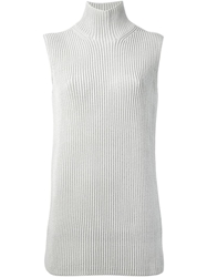 Hermes Vintage Sleeveless Knit Sweater Grey