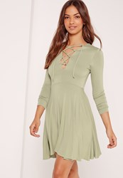 Missguided Lattice Front Long Sleeve Skater Dress Green Green