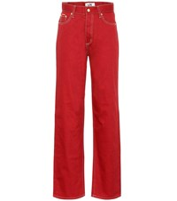 Eytys Benz Twill High Rise Wide Leg Jeans Red