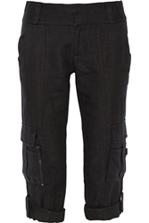 Alice Olivia Cropped Linen Straight Leg Cargo Pants