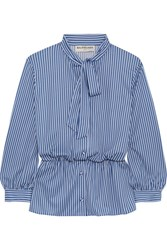 Balenciaga Lavalliere Pussy Bow Striped Stretch Jersey Shirt Blue