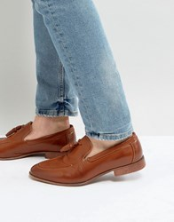 Asos Loafers In Tan Faux Leather With Tassel