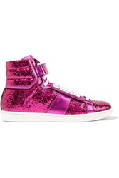 Saint Laurent Glittered Leather Sneakers Bright Pink