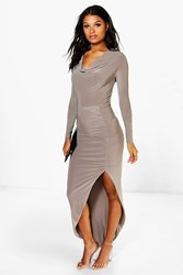 Boohoo Cowl Neck Slinky Maxi Dress Mocha