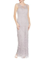 Gina Bacconi Abstract Guipure Lace Maxi Dress Dusty Lilac