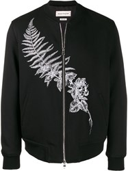 Alexander Mcqueen Logo Embroidered Biker Jacket Black