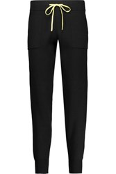 Duffy Cotton And Cashmere Blend Track Pants Black