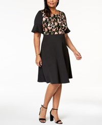 Sangria Plus Size Embroidered Flared Sleeve Dress Black Blossom