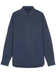 Jaeger Washed Cotton Twill Shirt Navy