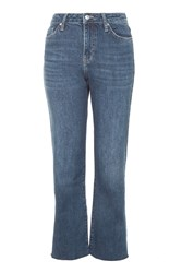Topshop Moto Dree Cropped Kick Flare Jeans Blue