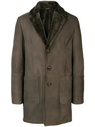 Desa 1972 Leather Single Breasted Coat Brown