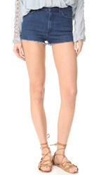 Free People High And Tight Cutoff Shorts Nautilus Blue