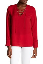 1.State Lace Up Blouse Red