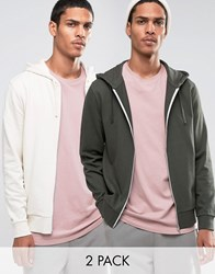 Asos Zip Up Hoodie Khaki Off White 2 Pack Forest Nights Whitec Multi