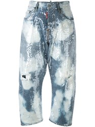 Dsquared2 Distressed Sequin Cropped Jeans Women Cotton Acrylic Polyester 38 Blue