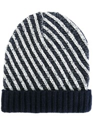 Julien David Diagonal Striped Beanie White