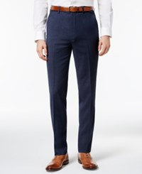 Ben Sherman Men's Slim Fit Blue Solid Suit Pants