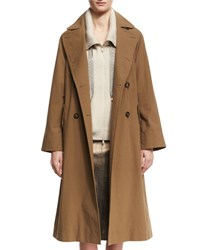 Brunello Cucinelli Cotton Canvas Double Breasted Trenchcoat Light Brown