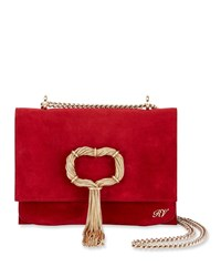 Roger Vivier Club Chain Suede Evening Clutch Bag Red ba2d030330ca6