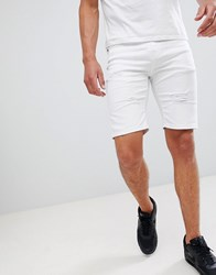 Good For Nothing Skinny Denim Shorts With Rips In White