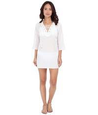 Michael Michael Kors Solids V Neck Tunic Cover Up White Women's Swimwear