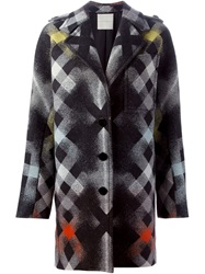 Marco De Vincenzo Check Print Evening Coat Black