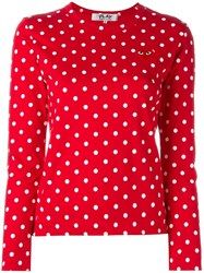 Comme Des Garcons Play Polka Dot Longsleeved T Shirt Red