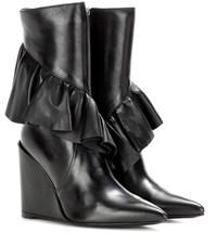J.W.Anderson Ruffle Leather Ankle Boot Black