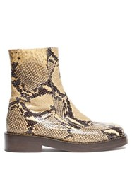 Marni Python Print Square Toe Leather Ankle Boots Black Beige