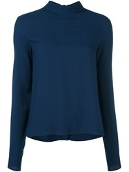 Msgm High Neck Blouse Blue