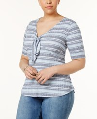 Almost Famous Trendy Plus Size Tie Front Top Chambray Navy