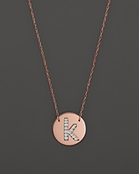 Jane Basch 14K Rose Gold Circle Disc Pendant Necklace With Diamond Initial 16