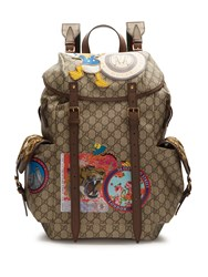 Gucci Gg Supreme Embroidered Leather Backpack Brown Multi