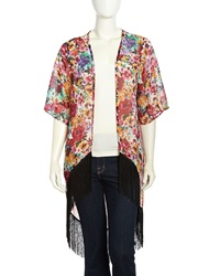 Romeo And Juliet Couture Floral Fringe Trimmed Open Kimono Black Pink