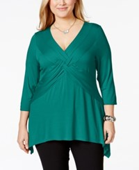 Ny Collection Plus Size Three Quarter Sleeve Twist Front Top Fanfare