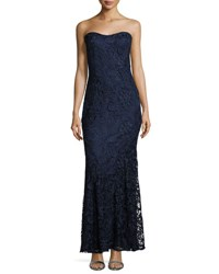 Lm Collection Strapless Lace Mermaid Gown W Stole Navy