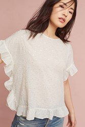 Anthropologie Sequin Flutter Blouse White