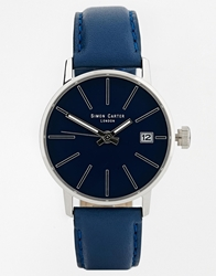 Simon Carter Blue Leather Strap Watch