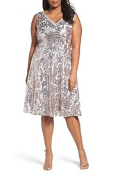 Brianna Plus Size Women's Sequin Fit And Flare Dress